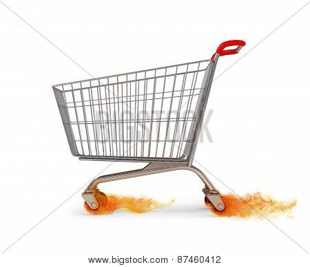 Original Empty Shopping Cart Moving Leaving The Fire At The Wheels On White Background. Hot Sales Co