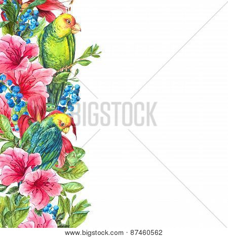 Exotic Vintage Card with Tropical Flowers, Parrots