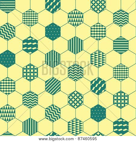 Yellow and green textured hexagon honeycomb geometric seamless pattern, vector