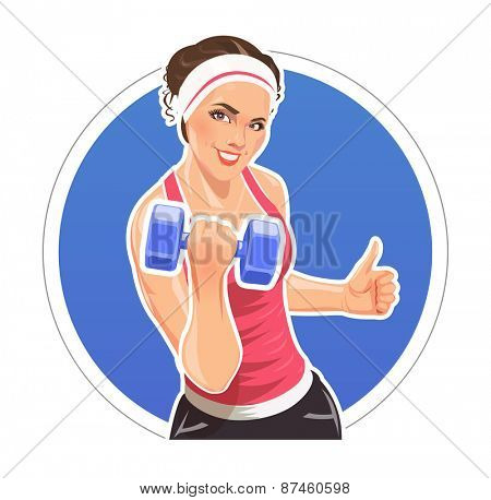 Girl with dumbbells for fitness. Eps10 vector illustration. Isolated on white background