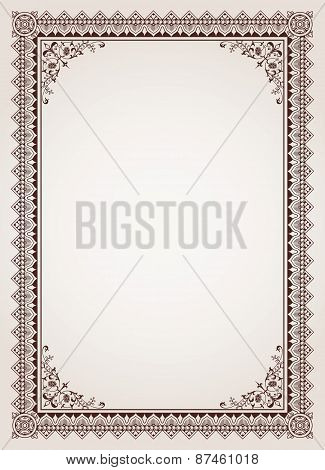 Decorative Border Frame Certificate Template Vector