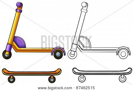 Skateboard and kick scooter set