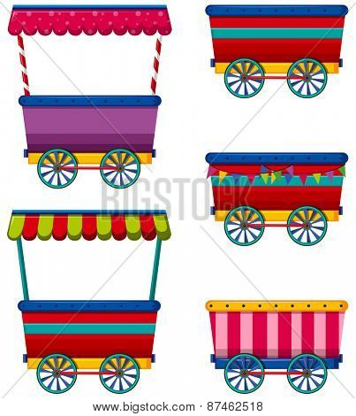 Different designs of carts and vendors