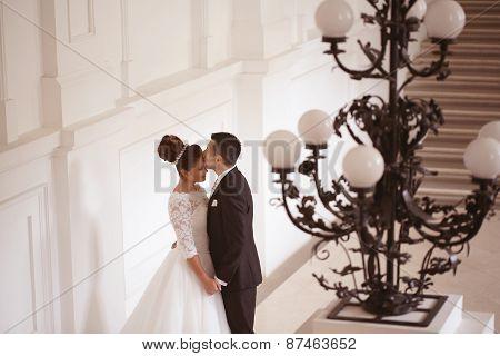 Beautiful bridal couple embracing