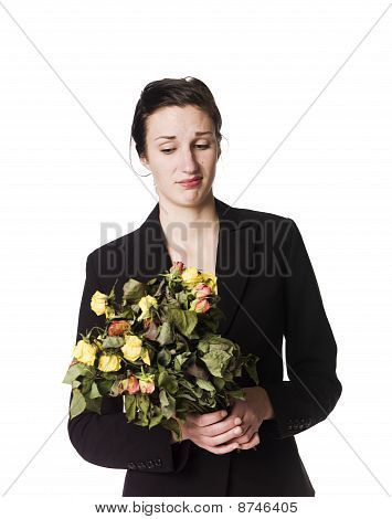 Woman with dried flowers