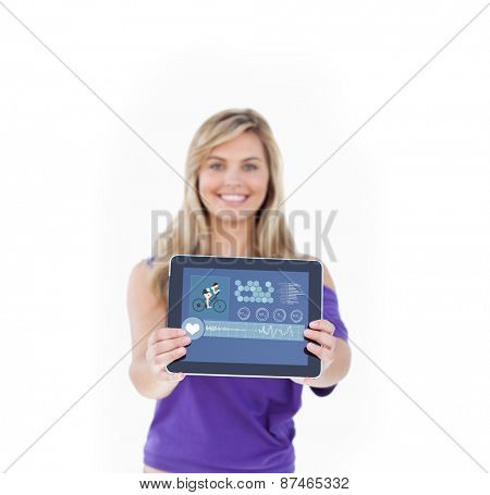 Tablet computer being held by a blonde woman against fitness interface