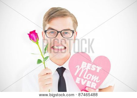 Geeky hipster holding a red rose and heart card against best mom ever