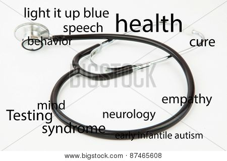 autism terms against black stethoscope