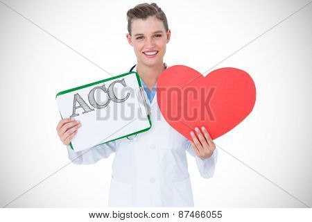 The word acc against happy doctor holding clipboard and heart card