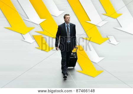 Business Man Travel On The Background Of Arrows, Concept Of Career And Success