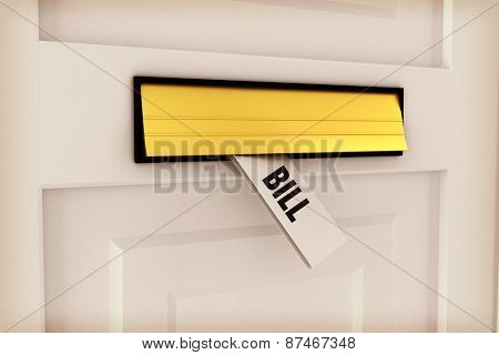The word bill against letter through post box