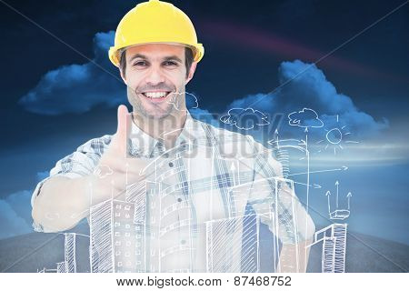 Architect showing thumbs up over white background against green field under blue sky