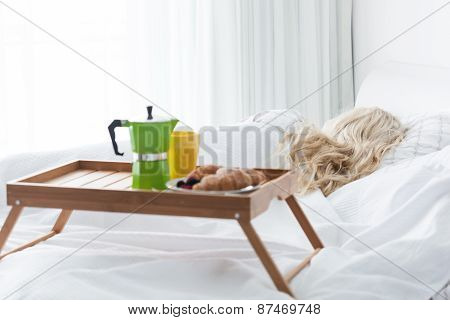 Breakfast Tray With Coffee And Croissant