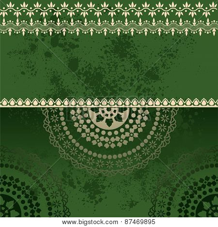 Green Indian henna mandala banner