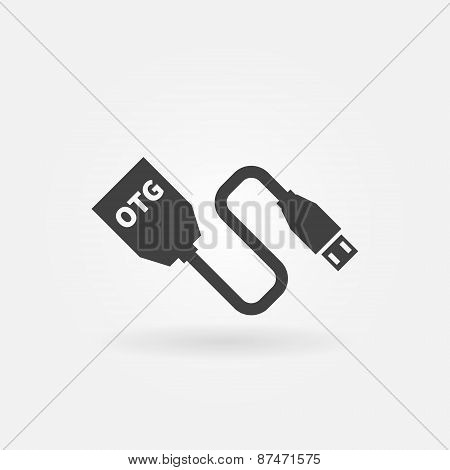 Vector USB OTG cable icon
