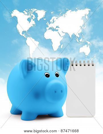 piggy bank with block note on blue sky planet map background