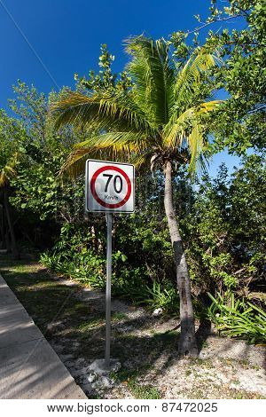 Seventy Kilometers Per Hour Speed Limit On Caribbean Street