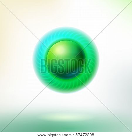 Green Button With Circle Led