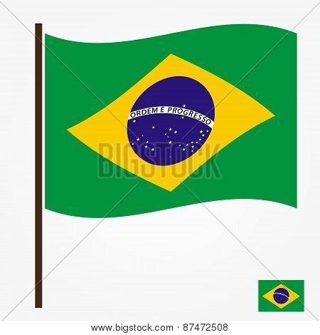 Brazil Flag National Symbol Color Vector Eps10