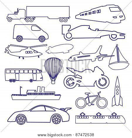 Transportation Outline Blue Simple Icons Set Eps10