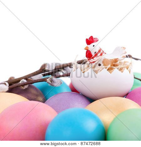 Chicken Toy On Easter Eggs