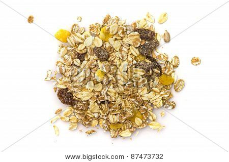 Heap Of Muesli Isolated On White. Delicious Granola Cereal Mix, With Dried Fruit And Seeds.