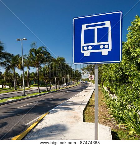 American Road Public Bus Stop Sign On Caribbean Street