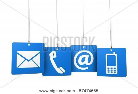 Contact Us Web Icons On Blue Tags