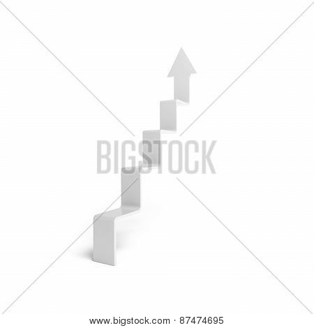 3D Arrow In Shape Of Stairway, Isolated On White Background