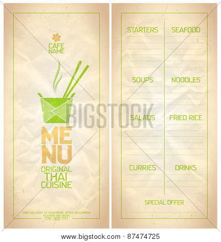 Original Thai food menu list design.