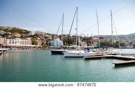Yachts And Boats Are Moored In Marina Of Balchik