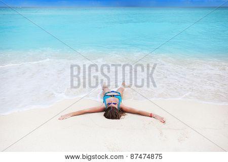 Woman On Sandy Beach Enjoying Tropical Holidays