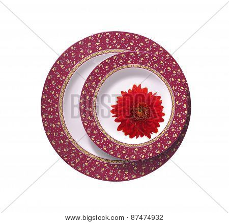Two Plates With Red Chrysanthemum Isolated On White