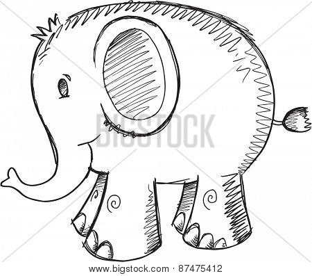Doodle Sketch Elephant Vector Illustration Art