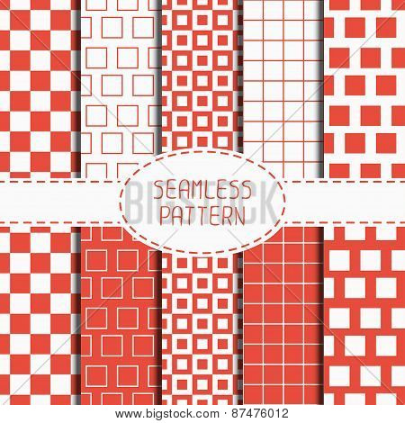 Set of geometric red seamless pattern with squares, cube. Collection of wrapping paper. Paper for sc