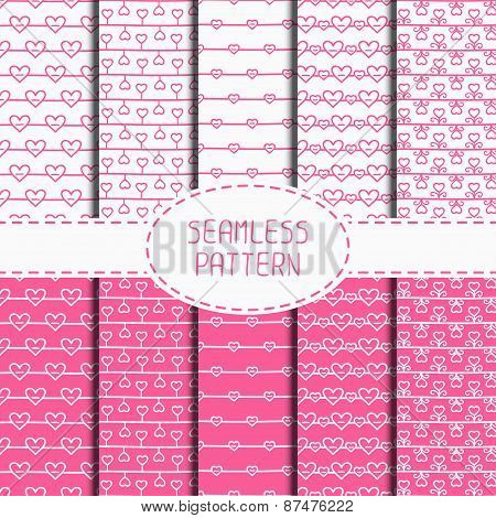 Set of pink romantic seamless pattern with hearts. Collection of wrapping paper. Paper for scrapbook