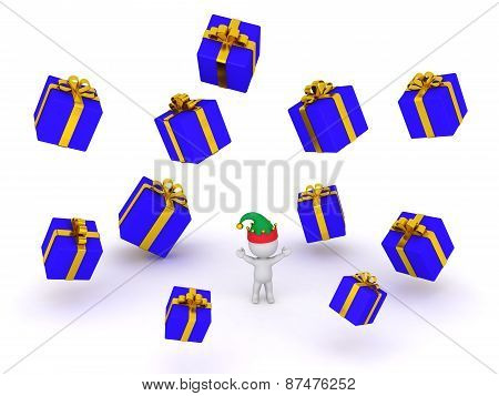 3D Character with Elf Hat and Falling Wrapped Gifts