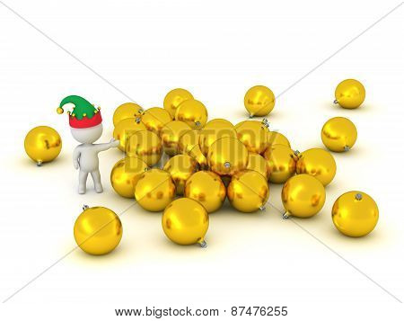 3D Character Showing Pile of Golden Globes