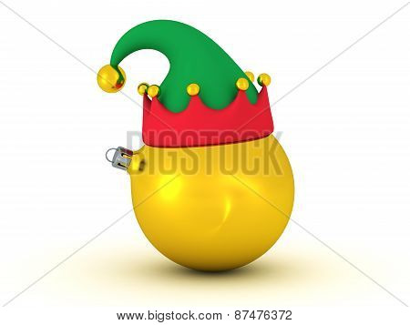 3D Golden Globe with Elf Hat