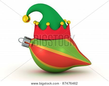3D Colorful Globe with Elf Hat