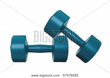 Blue Dumbbells Fitness Isolated On White