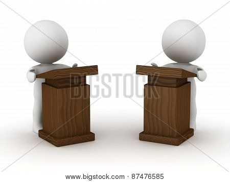 Two 3D Characters at Speaker Lecterns