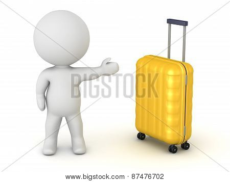 3D Character Showing Travel Trolley
