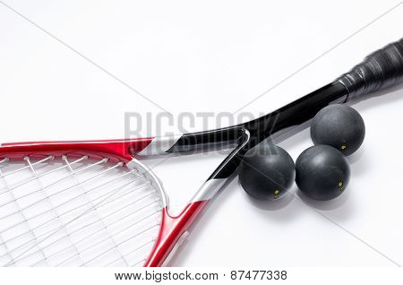 Close up of a squash racket and balls