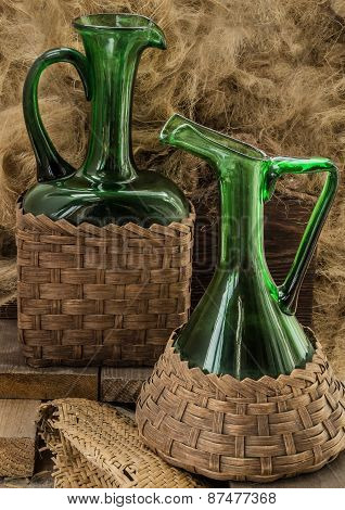 Two Old Green Wine Bottles