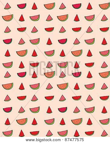 Vector seamless pattern of slices  watermelon