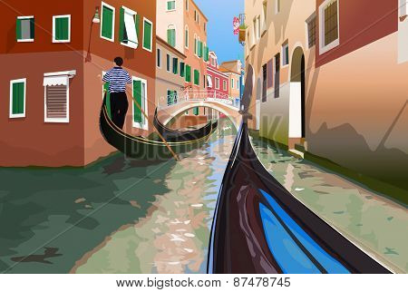 Gondola trip on small Venice canals.