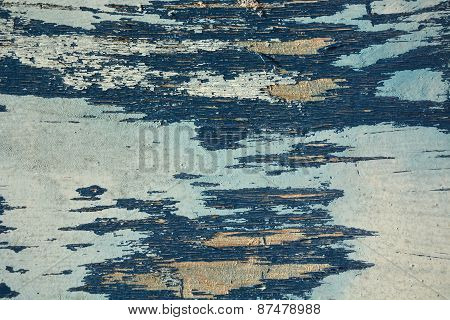 Wooden Background. Old, Vintage, Blue Plywood
