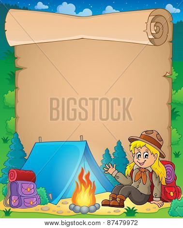 Parchment with scout girl theme 1 - eps10 vector illustration.