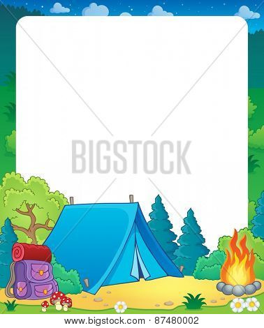 Summer frame with camp site theme - eps10 vector illustration.